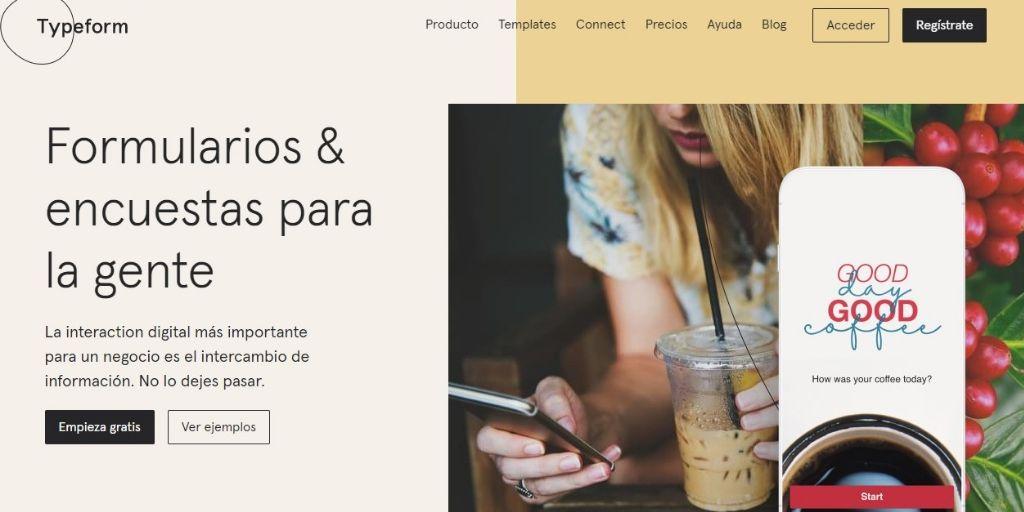 página de inicio de la aplicación para encuestas de satisfacción a clientes Typeform