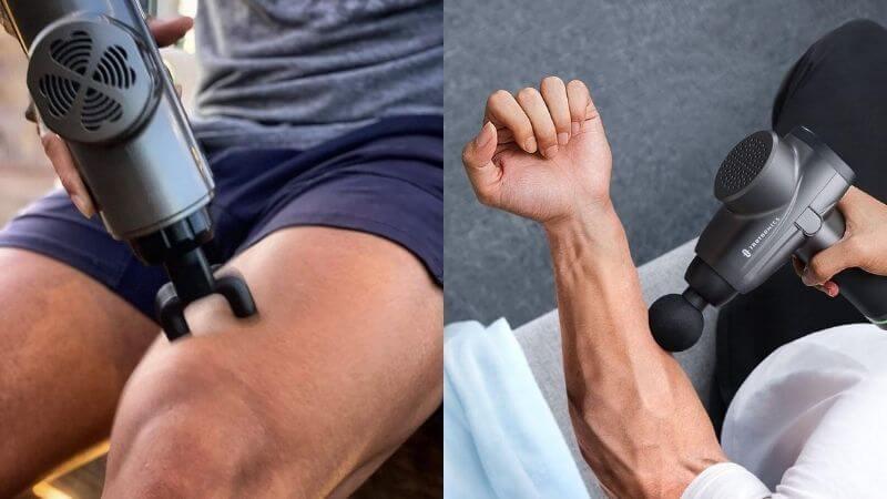 pistola de masaje en pierna y antebrazo